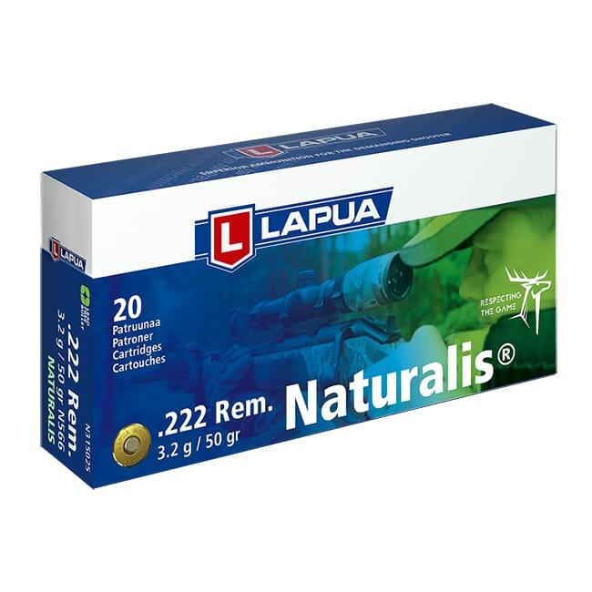 Lapua .222 Remington 50gr Naturalis Solid Box of 20 N315025