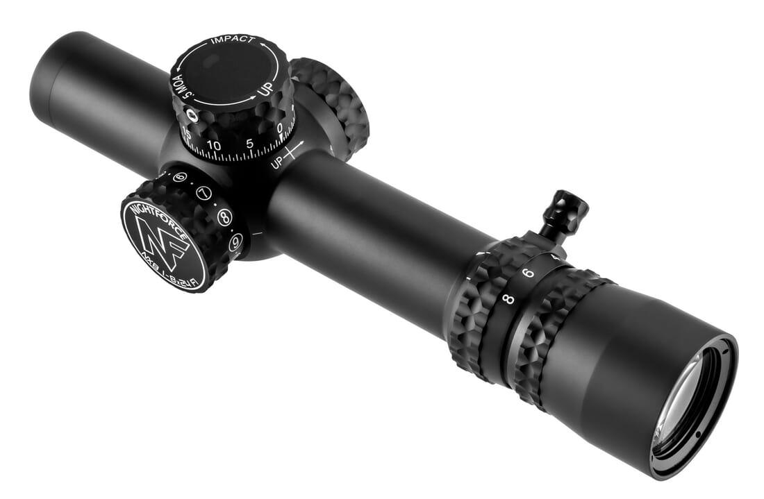 Nightforce NX8 1-8x24mm F1 - ZeroStop - .2mrad Capped Windage PTL FC-Mil C598