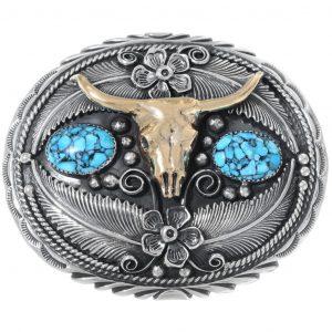 Turquoise Silver Gold Longhorn Belt Buckle 0047