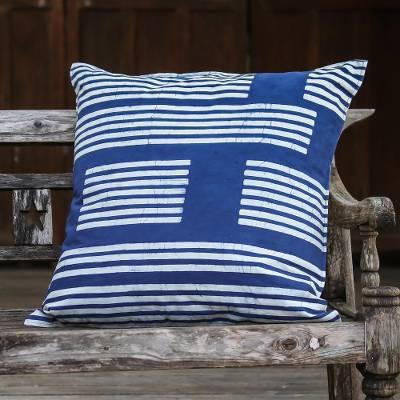 "Rectangular Cotton Batik Cushion Cover in Indigo, ""Split Bamboo"""