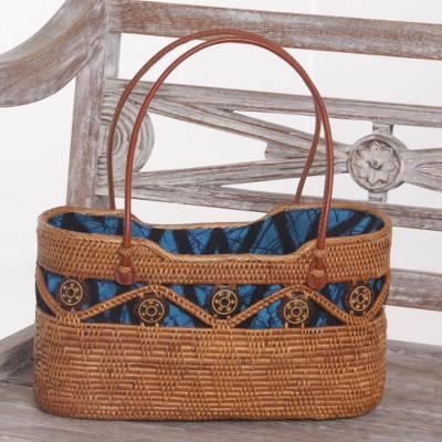 "Handcrafted Ate Grass Lombok Handle Handbag from Bali, ""Serene Skyline"""