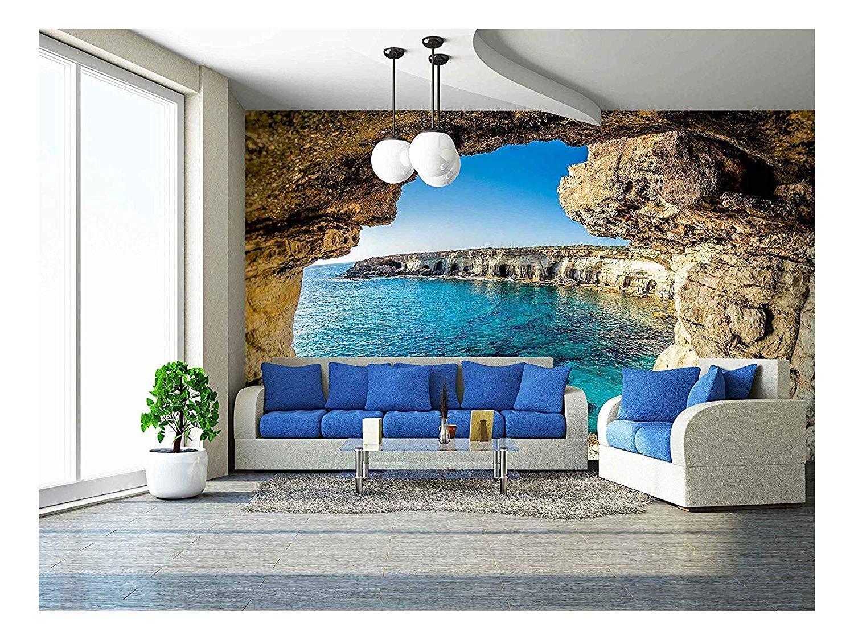 wall26 - Sea Caves Near Ayia Napa, Cyprus. - Removable Wall Mural | Self-Adhesive Large Wallpaper - 100x144 inches