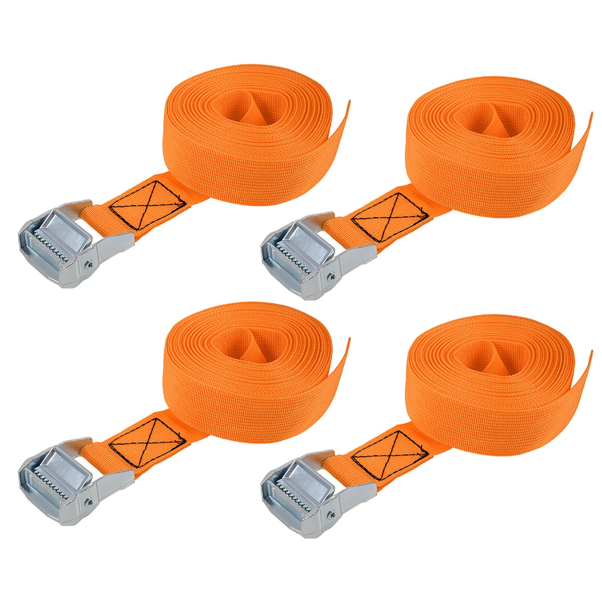 "Lashing Strap 1.5"" x 20' Cargo Tie Down Straps with Cam Lock Buckle Up to 1100lbs Orange 4 Pcs"