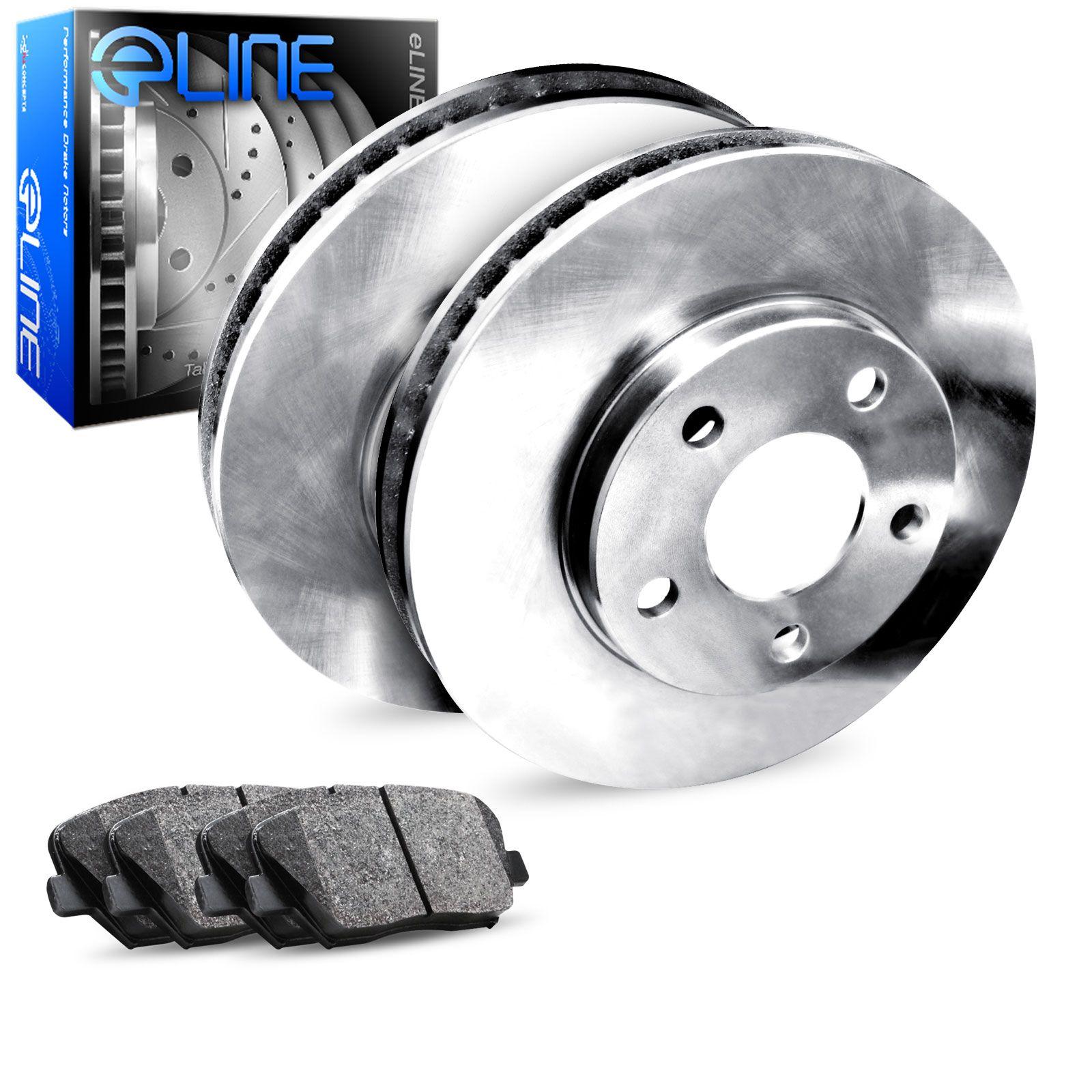 Fits 2012 2013 2014 2015 Honda CR-V Rear eLine Plain Brake Disc Rotors & Ceramic Brake Pads